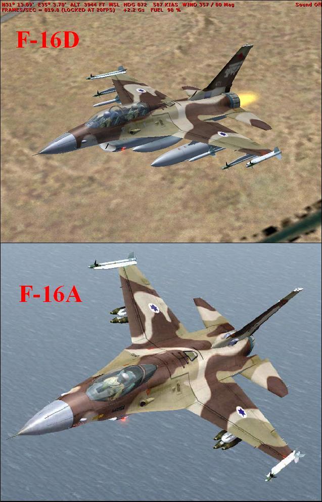 F-16A ו-F-16D של טייסת מגיני הדרום